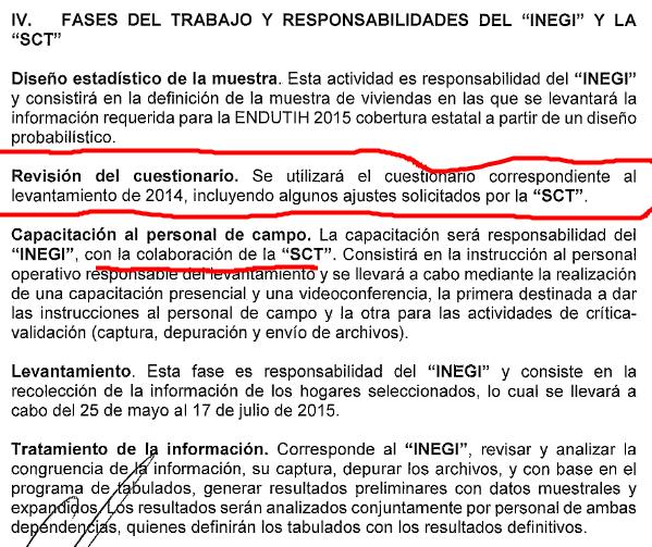 Anexo A Sección IV del convenio suscrito entre la SCT y el INEGI