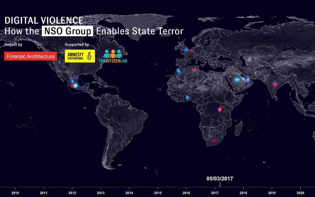 Forensics Architecture presenta Digital Violence, una plataforma sobre ataques de Pegasus en el mundo